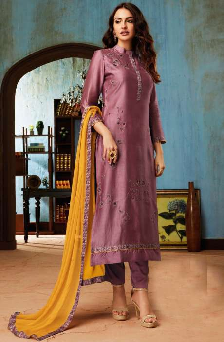 Chanderi and Cotton Satin Embroidery Mauve Salwar Suit - BEA1133