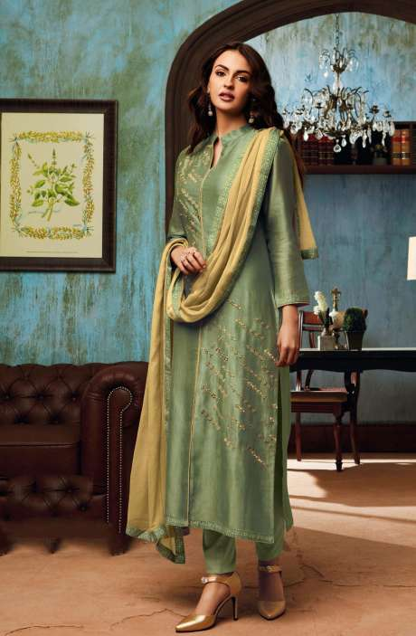 Chanderi and Cotton Satin Embroidery Green Salwar Suit - BEA1135