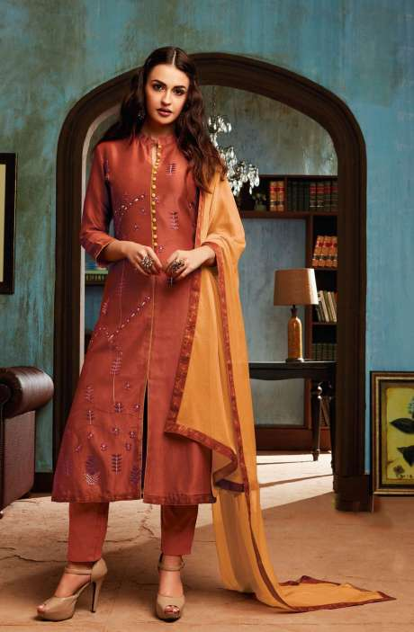 Chanderi and Cotton Satin Embroidery Rust Salwar Suit - BEA1136