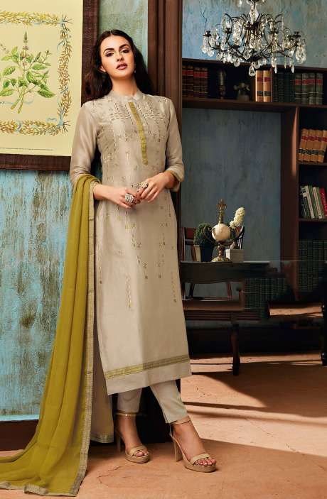 Chanderi and Cotton Satin Embroidery Beige Salwar Suit - BEA1137