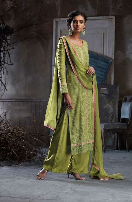 Georgette and Satin Embroidery with Swarovski Work Pista Green Salwar Suit Sets - BEA5218