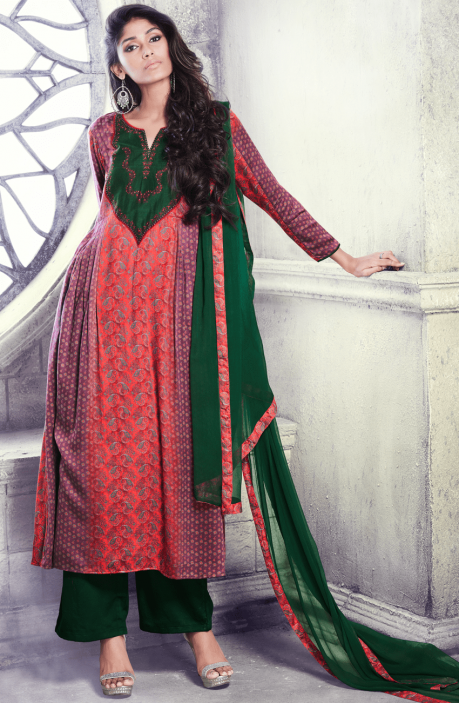 Ready to Stich Wine and Bottle Green Floral Printed Cotton Silk Salwar Kameez - BEL4931