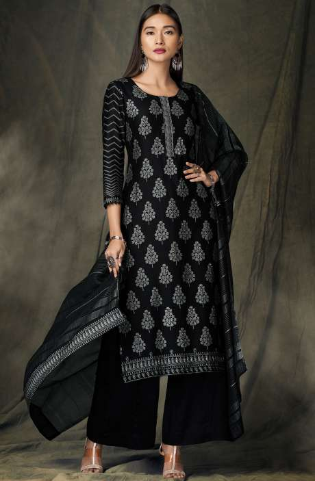 Designer Satin Silk Black Digital Print Salwar Kameez - BID8424