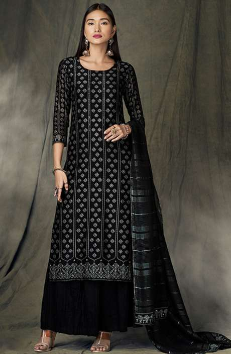Designer Satin Silk Digital Printed Black Salwar Kameez - BID8426