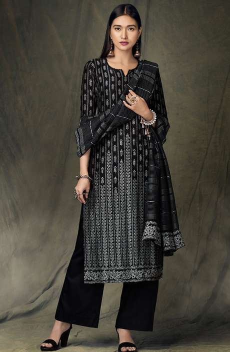 Designer Satin Silk Digital Printed Black Salwar Suit - BID8427