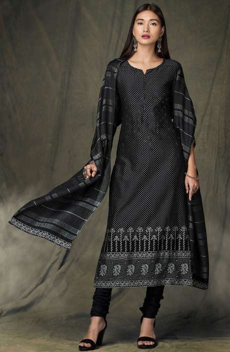 Designer Satin Silk Digital Print Black Salwar Suit - BID8429