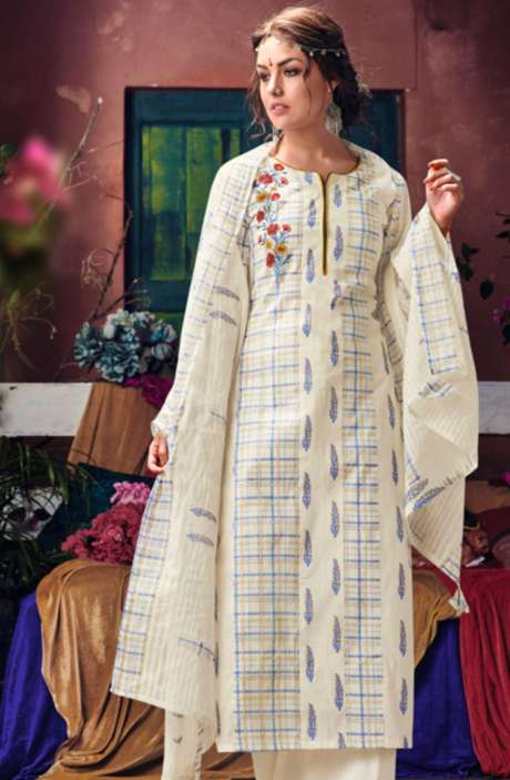 Designer Cream Cotton Digital Printed Suit Sets with Embroidery - BLA4041
