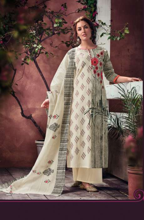 Designer Cream Cotton Printed Salwar Suit with Embroidery - BLA4050