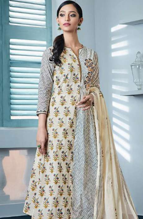 Digital Beautiful Print with Machine Embroidery Cotton Suit In Cream and Grey - BLA4143
