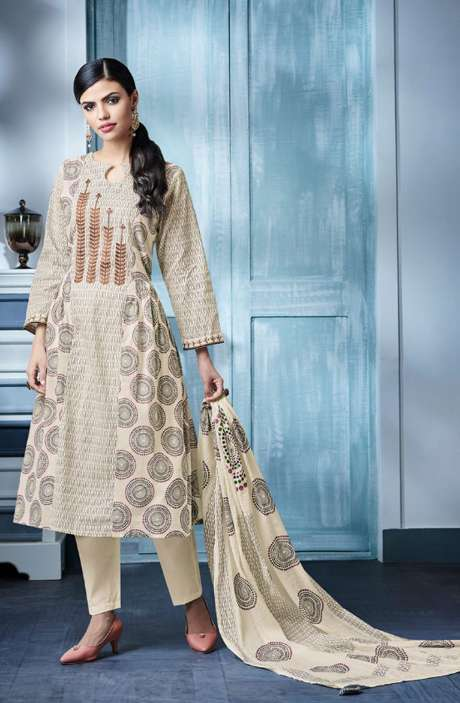 Digital Beautiful Print with Machine Embroidery Cotton Suit In Cream and Violet - BLA4144