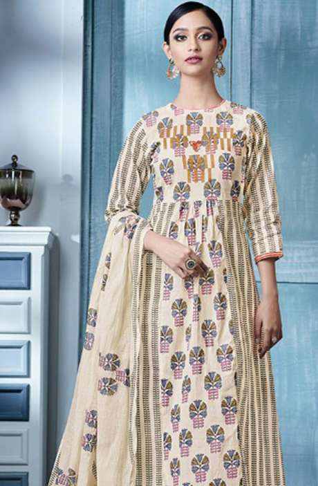 Digital Beautiful Print with Machine Embroidery Cotton Salwar  Suit In Cream and Mehndi Green - BLA4145