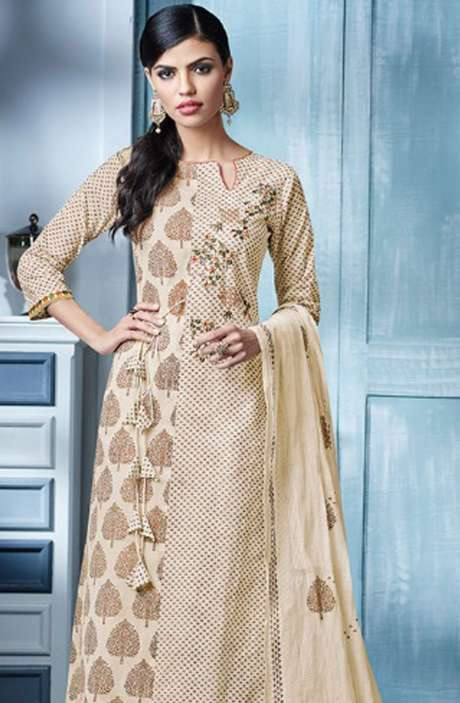 Digital Beautiful Print with Machine Embroidery Cotton Suit In Cream and Brown - BLA4146