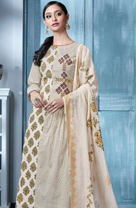 Digital Beautiful Print with Machine Embroidery Cotton Salwar Suit In Cream and Mehndi Green - BLA4150