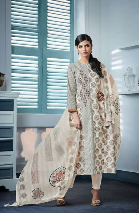Digital Beautiful Print with Machine Embroidery Cotton Suit In Cream and Black - BLA4151
