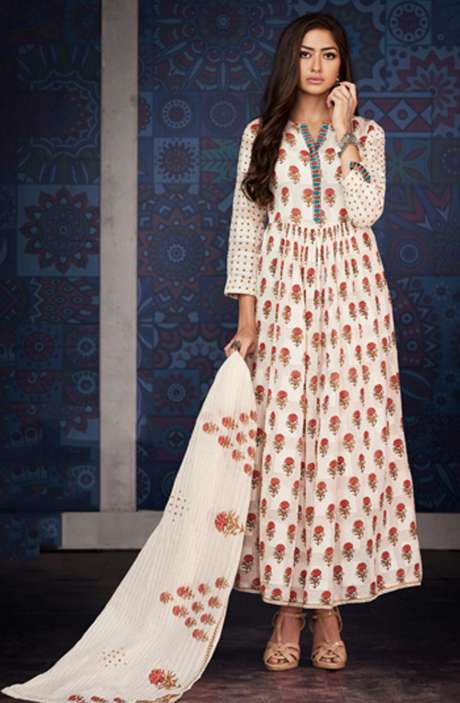 Digital Floral Print with Machine Embroidery Cotton Jacquard Salwar Suit In Cream - BLA4209
