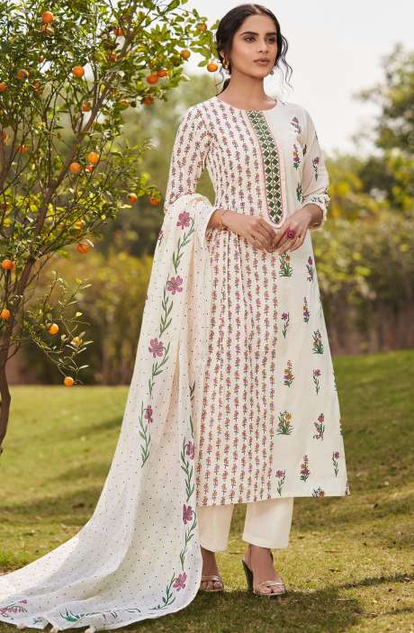Beautiful Digital Floral Print Cotton Unstitched Salwar Suit with Embroidery - BLA4501