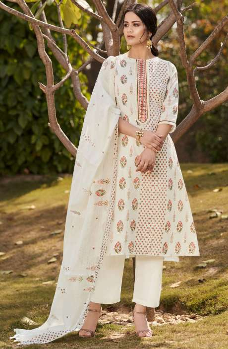 Beautiful Digital Floral Printed Cotton Unstitched Salwar Suit with Embroidery - BLA4502