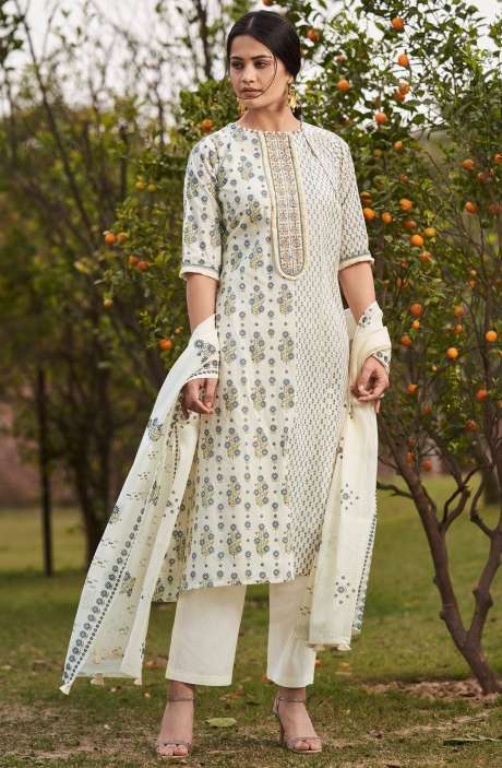 Beautiful Digital Floral Print Cotton Unstitched Salwar Kameez with Embroidery - BLA4503