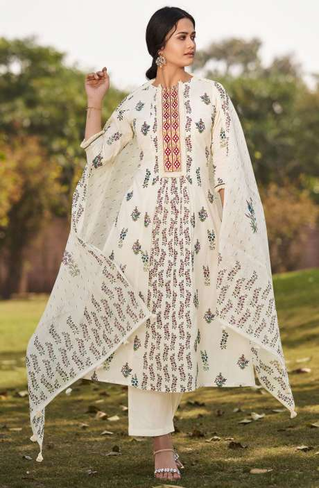 Beautiful Floral Digital Printed Cotton Unstitched Salwar Suit with Embroidery - BLA4506