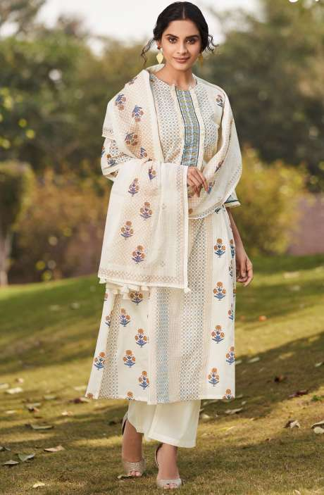 Beautiful Digital Floral Print Unstitched Cotton Salwar Suit with Embroidery - BLA4507