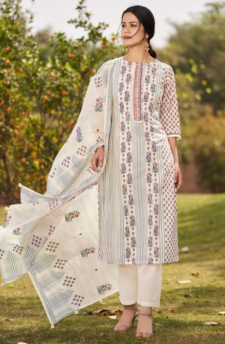 Beautiful Digital Floral Printed Unstitched Cotton Salwar Kameez with Embroidery - BLA4510