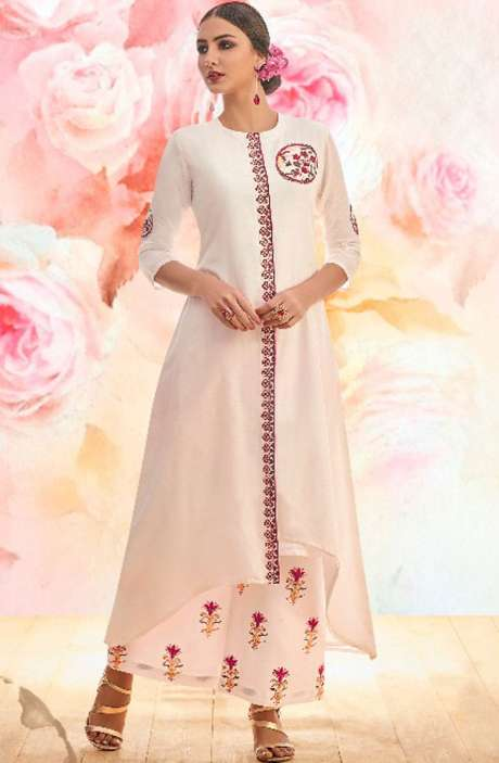 Ready to Wear Cotton Cream Embroidery Kurti with Palazzo - BLI1461-R