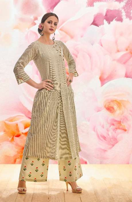 Ready to Wear Cotton Beige Jacquard Work Kurta with Floral Print Palazzo - BLI1463-R