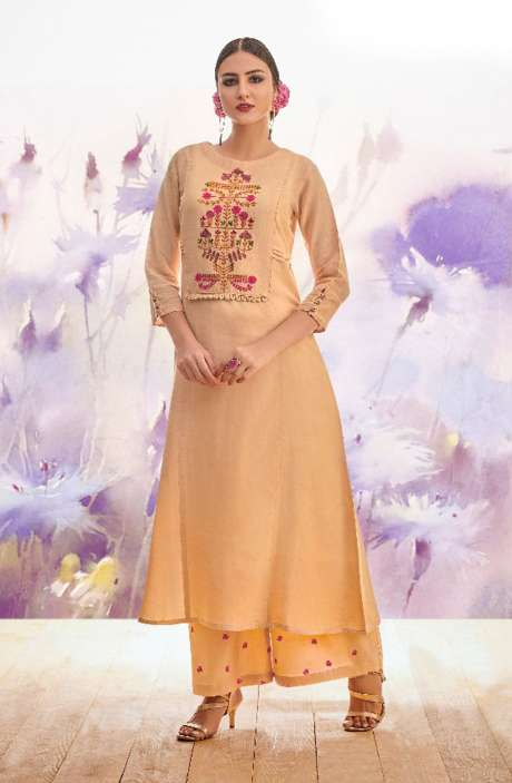 Designer Peach Cotton Embroidery Kurta with Printed Palazzo - BLI1465
