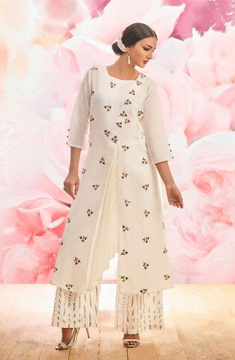 White Stitched Cotton Floral Embroidered Kurta with Palazzo - BLI1466