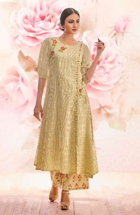 Beige Cotton Jacquard with Machine Embroidery Kurti with Palazzo - BLI1467-R