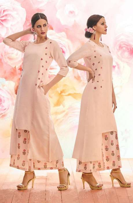 Trendy Peach Cotton Floral Embroidery Kurta with Printed Palazzo - BLI1468