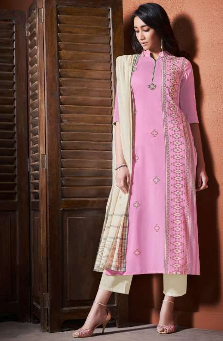 Cotton Khadi Print Baby Pink Unstitched Salwar Suit with Hand Work - BLI4481