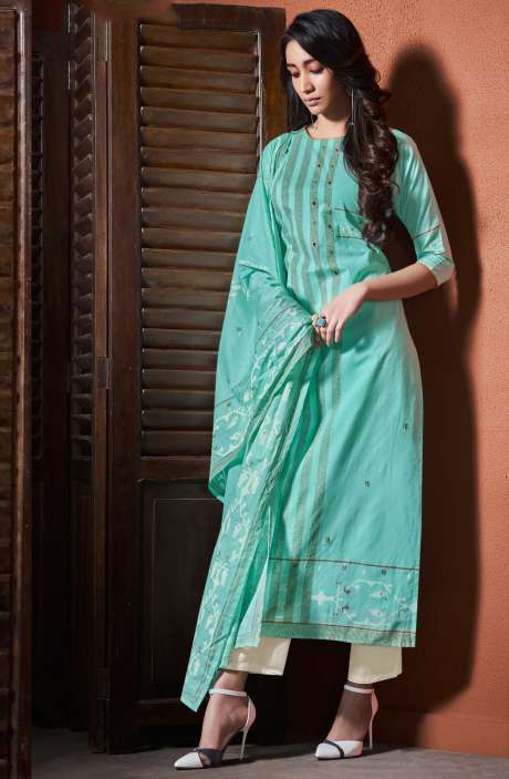 Cotton Khadi Print Sea Green Unstitched Salwar Suit with Hand Work - BLI4482