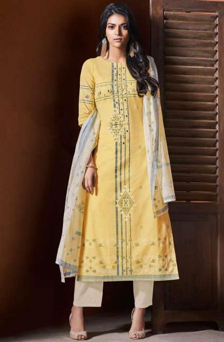 Cotton Khadi Print Yellow Unstitched Salwar Suit with Hand Work - BLI4483
