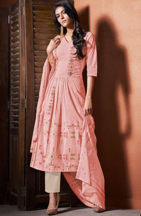 Cotton Khadi Print Peach Unstitched Salwar Suit with Hand Work - BLI4484