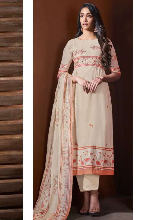 Cotton Khadi Print Beige Unstitched Salwar Suit with Hand Work - BLI4486