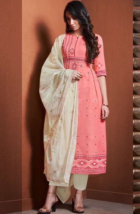 Cotton Khadi Print Pink Unstitched Salwar Suit with Hand Work - BLI4487