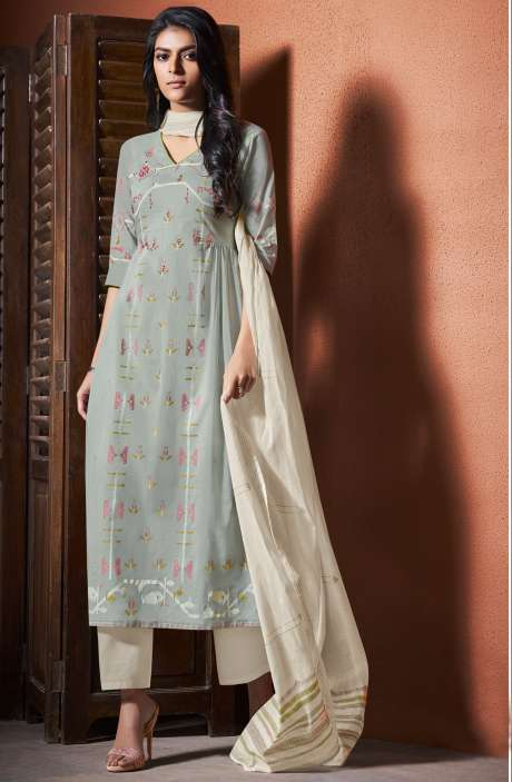 Cotton Khadi Print Pastel Green Unstitched Salwar Suit with Hand Work - BLI4488