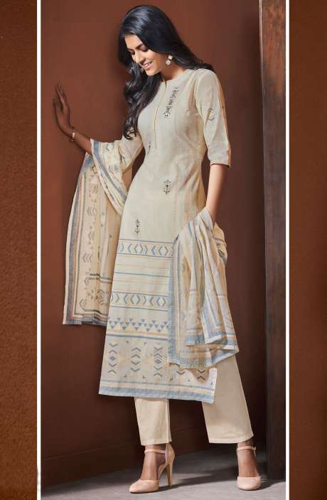 Cotton Khadi Print Cream Unstitched Salwar Suit with Hand Work - BLI4489