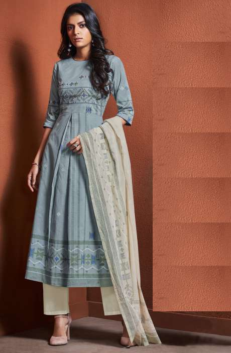 Cotton Khadi Print Grey Unstitched Salwar Suit with Hand Work - BLI4490