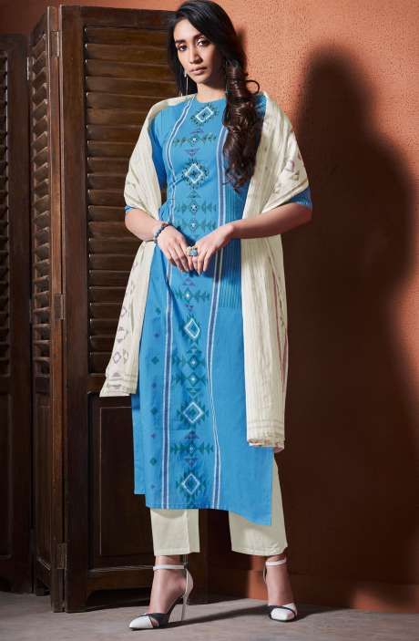 Cotton Khadi Print Blue Unstitched Salwar Suit with Hand Work - BLI4491