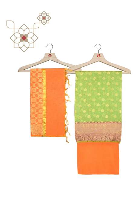 Chanderi Banarasi Parrot Green and Orange Ethnic Salwar Suit Set - BNFCHN4012B