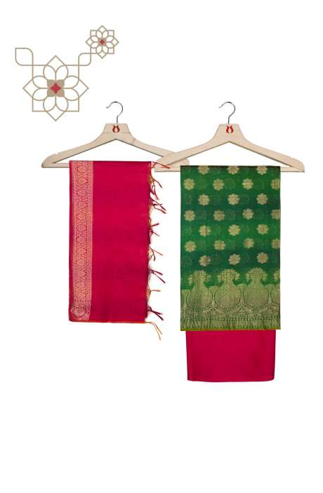 Chanderi Banarasi Bottle Green and Rani Pink Ethnic Salwar Suit Set - BNFCHN4014C