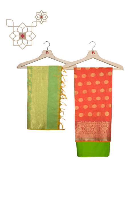 Chanderi Banarasi Peach and Parrot Green Ethnic Salwar Suit Set - BNFCHN4015B