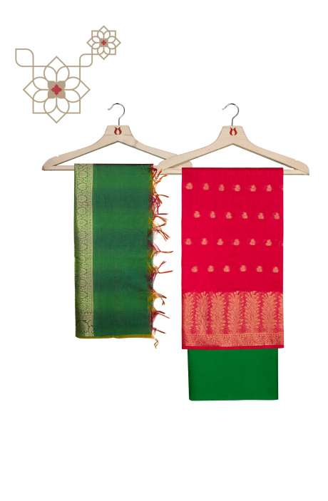 Chanderi Banarasi Rani Pink and Bottle Green Ethnic Salwar Suit Set - BNFCHN4016