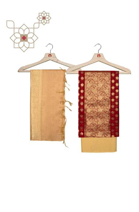 Chanderi Banarasi Maroon and Beige Ethnic Salwar Suit Set - BNFCHN4022B