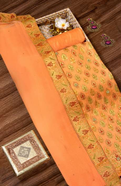 Banarasi Chanderi Silk Salwar Kameez In Orange with Chiffon Dupatta - BNFCHN4065-1E