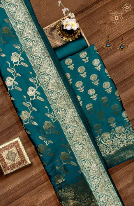 Beautiful Chanderi Silk Salwar Kameez In Teal with Banarasi Silk Dupatta - BNFCHN4106C