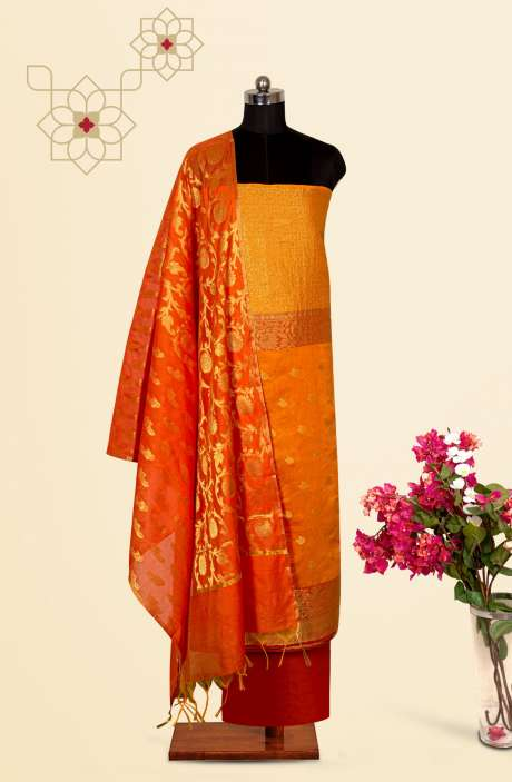 Beautiful Chanderi Silk Salwar Kameez In Mustard with Trendy Dupatta - BNFCHN4116C