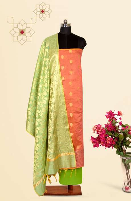 Beautiful Chanderi Silk Salwar Kameez In Peach & Green with Trendy Dupatta - BNFCHN4117C